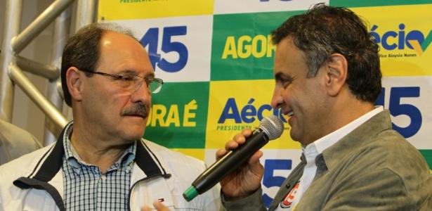 José Ivo Sartori (PMDB) e Aécio Neves (PSDB), em ato da campanha de 2014