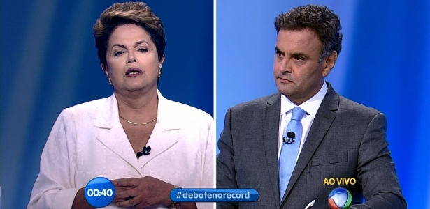 Datafolha: Aécio se saiu melhor em debate para 22%; 16% apontam Dilma - Reprodução/Record