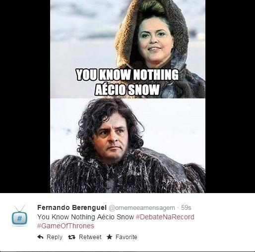 19.out.2014 - Internauta faz paródia com o seriado Game of Thrones em postagem no Twitter sobre o debate que acontece neste domingo (19) entre os candidatos à Presidência da República Aécio Neves (PSDB) e Dilma Rousseff (PT), promovido pela Record