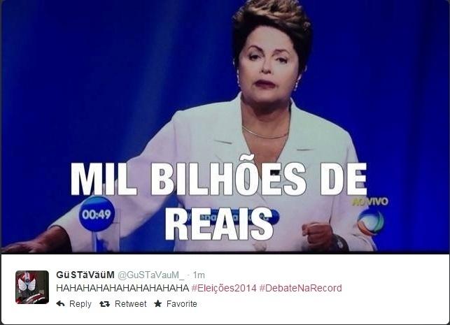 19.out.2014 - Internauta faz piada com fala da presidente Dilma Rousseff (PT), candidata à reeleição, durante debate que acontece neste domingo (19) entre os candidatos à Presidência da República Aécio Neves (PSDB) e Dilma Rousseff (PT), promovido pela Record