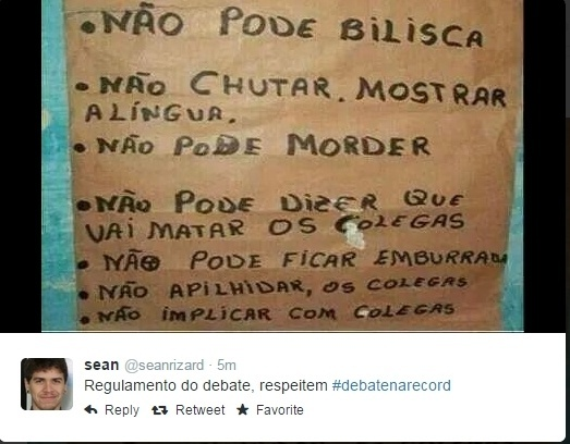 19.out.2014 - Internauta faz piada com o regulamento do debate que acontece neste domingo (19) entre os candidatos à Presidência da República Aécio Neves (PSDB) e Dilma Rousseff (PT), promovido pela Record