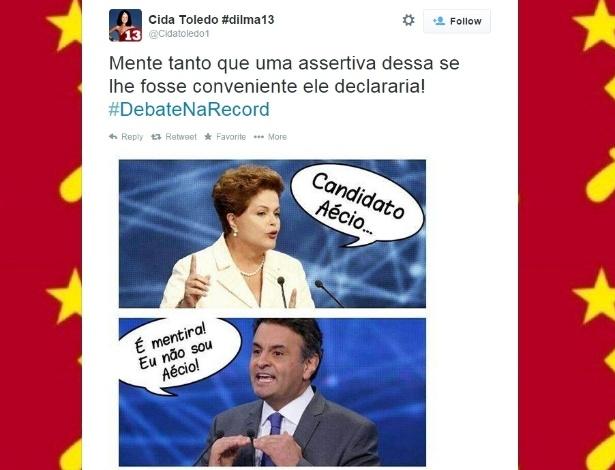 19.out.2014 - Internauta faz piada no Twitter antes do debate que acontece neste domingo (19) entre os candidatos à Presidência da República Aécio Neves (PSDB) e Dilma Rousseff (PT), promovido pela Record