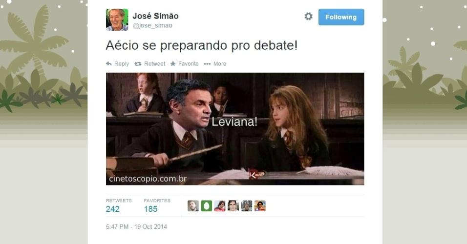 19.out.2014 - O colunista da Folha de S. Paulo, José Simão, postou em seu Twitter imagem sobre o debate que acontece neste domingo (19) entre os candidatos à Presidência da República Aécio Neves (PSDB) e Dilma Rousseff (PT), promovido pela Record