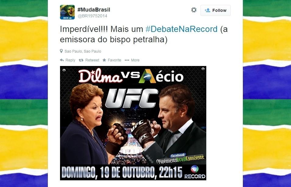 19.out.2014 - Perfil no Twitter faz piada antes do debate que acontece neste domingo (19) entre os candidatos à Presidência da República Aécio Neves (PSDB) e Dilma Rousseff (PT), promovido pela Record