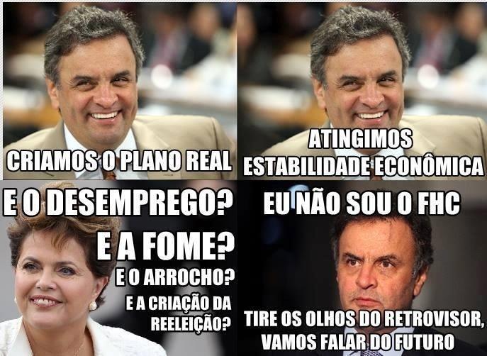 19.out.2014 - Internauta faz piada com debate entre a presidente Dilma Rousseff (PT), candidata à reeleição, e Aécio Neve, candidato do PSDB à Presidência, durante debate que acontece neste domingo (19) entre os candidatos à Presidência da República Aécio Neves (PSDB) e Dilma Rousseff (PT), promovido pela Record