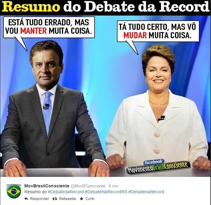 20.out.2014 - Esse foi o resumo do debate da Record entre os candidatos à Presidência para o internauta que postou essa imagem