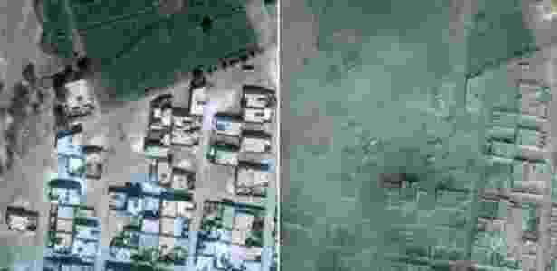 A foto à esquerda é de 6 de setembro de 2014; à direita, imagem de 15 de outubro de 2014 - Digital Globe/Unitar/Unosat