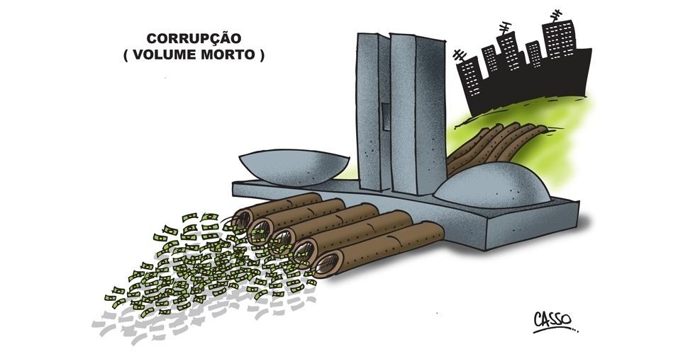 22.out.2014 - O chargista Casso faz uma comparação com a corrupção e a captação do volume morto do sistema Cantareira, em São Paulo