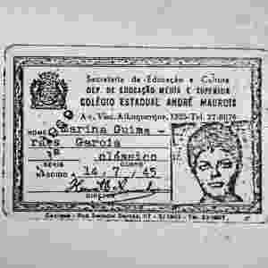 As posições políticas da estudante Dilma fizeram que ela vivesse na clandestinidade durante a ditadura militar. Na imagem, uma cópia de documento falso (carteira colegial) usado por Dilma Rousseff em nome de Marina Guimarães Garcia. Dilma estreou na clandestinidade militando na Polop (Organização Revolucionária Marxista - Política Operária), que depois se trandormou no Colina (Comando de Libertação Nacional) - Arte UOL