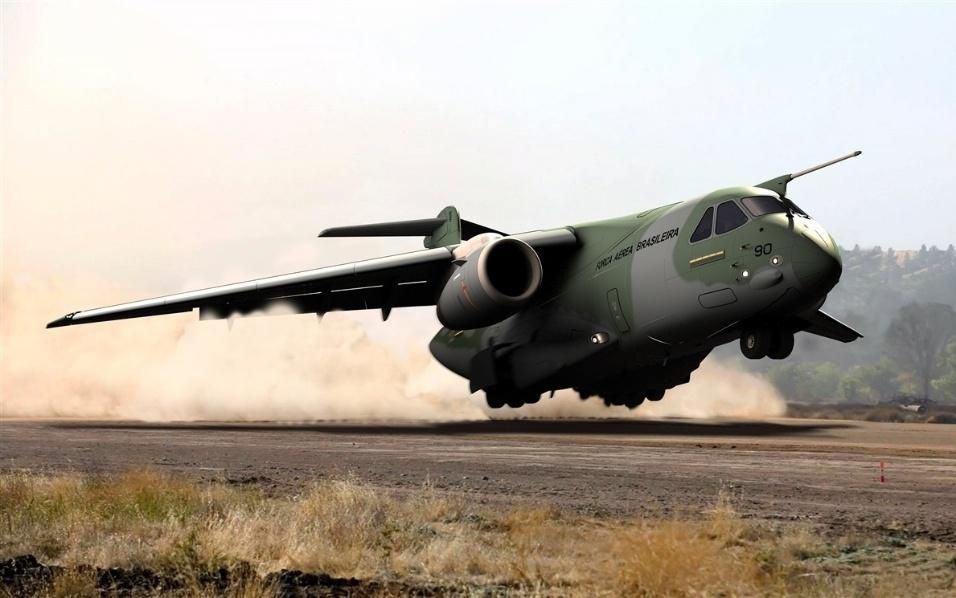 Desenho divulgado pela Embraer mostra como deve ser o cargueiro KC-390