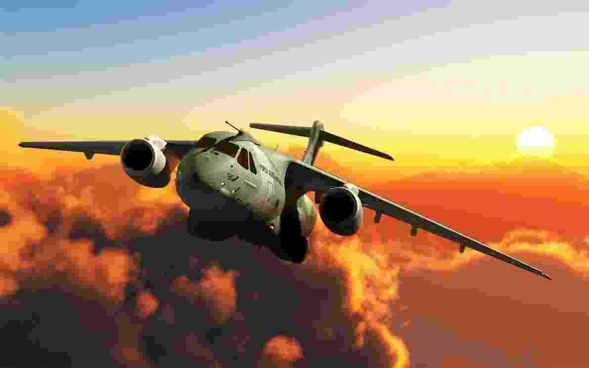 Desenho divulgado pela Embraer mostra como deve ser o cargueiro KC-390 - Divulgação/Embraer