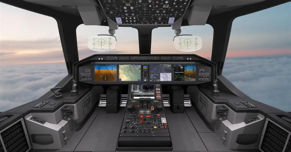 Desenho divulgado pela Embraer mostra como deve ser o interior do cargueiro KC-390