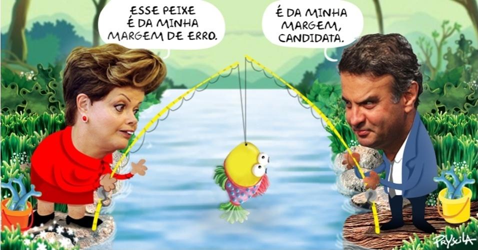 22.out.2014 - A cartunista Pryscila brinca com as pesquisas eleitorais que apontam um empate técnico dentro da margem de erro