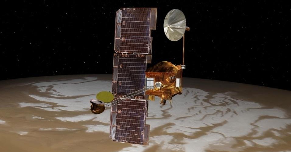 22.out.2014 - SONDA EM MARTE OBSERVOU COMETA - Concepção artística divulgada pela Nasa (agência espacial americana) mostra a sonda Mars Odyssey  em cima do planeta vermelho. A nave é a que está na órbita de Marte por mais tempo, desde 24 de outubro de 2001. A sonda foi usada para observar o cometa Siding Spring, que passou zunindo a meros 139,5 mil km da superfície do planeta