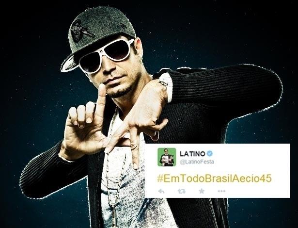 O cantor Latino usou seu perfil no Twitter para declarar seu apoio ao candidato do PSDB à presidência, Aécio Neves