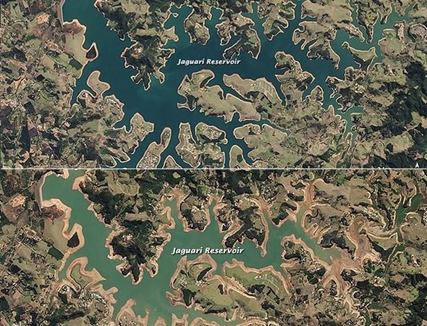 Com diferença de quase um ano, imagens mostram alteração no nível da represa Jaguari - Jesse Allen/Earth Observatory/NASA