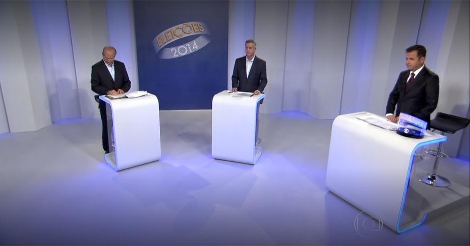 23.out.2014 - Os candidatos ao governo do Distrito Federal Jofran Frejat (PR) e Rodrigo Rollemberg (PSB), participam nesta quinta-feira (23) de debate do segundo turno das eleições, promovido pela TV Globo