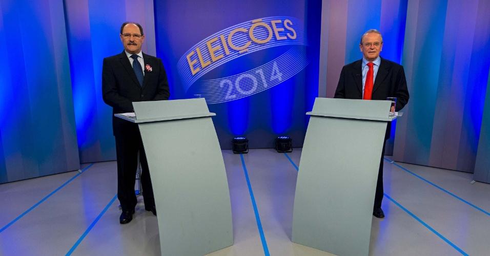 23.out.2014 - Os candidatos ao governo do Rio Grande do Sul, José Ivo Sartori (PMDB, à esquerda) e Tarso Genro (PT), participam de debate em Porto Alegre