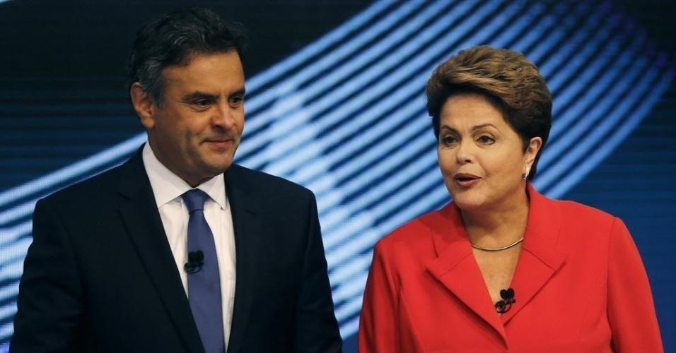 24.out.2014 - A presidente Dilma Rousseff (PT), candidata à reeleição, e Aécio Neves, candidato do PSDB à Presidência, participam do último debate do segundo turno das eleições presidenciais, no estúdio da TV Globo, no Rio de Janeiro, nesta sexta-feira (24)