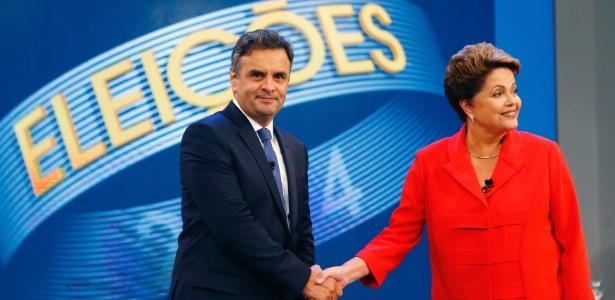 Aécio Neves (PSDB) e Dilma Rousseff (PT) se cumprimentam durante debate