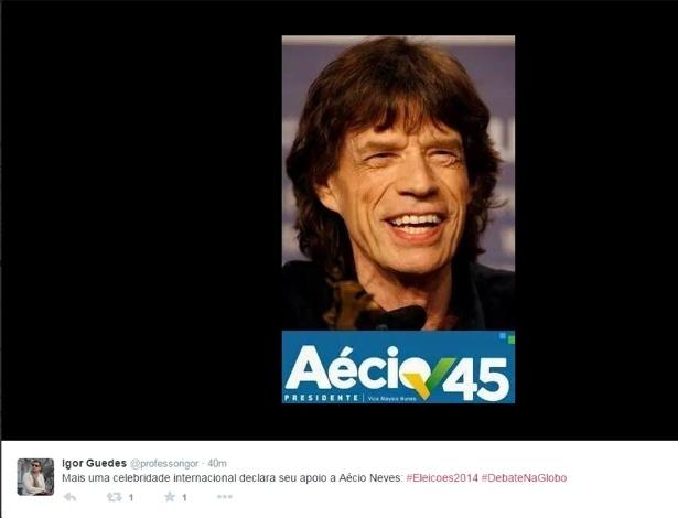 """24.out.2014 - Internauta faz piada com a fama de """"pé frio"""" do vocalista da banda Rolling Stones, Mick Jagger, e o último debate antes do segundo turno das eleições presidenciais, que acontecem no próximo domingo (26)"""