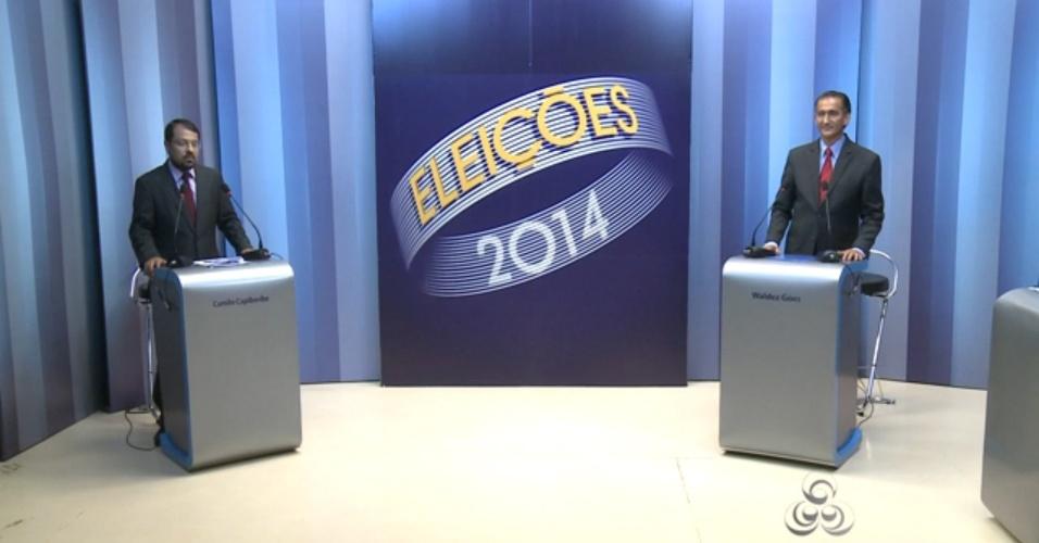 24.out.2014 - Os candidatos ao governo do Amapá, Camilo Capiberibe (PSB) e Waldez (PDT), participaram do último debate antes do segundo turno das eleições deste ano, realizado pela TV Amapá, afiliada da Rede Globo, na noite desta quinta-feira (23)