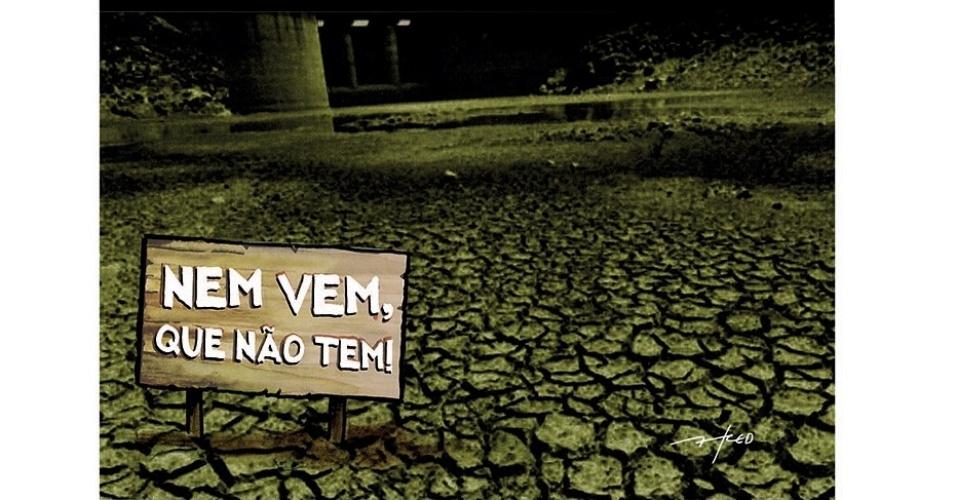 25.out.2014 - O chargista Fred critica a crise hídrica que atinge o Estado de São Paulo