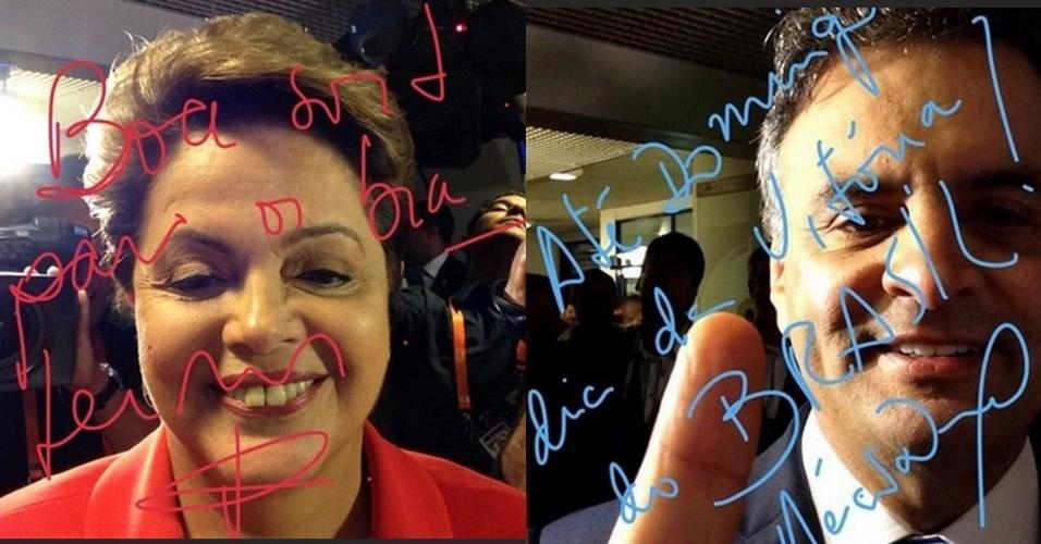 Dilma e Aécio fazem selfie antes de último debate presidencial