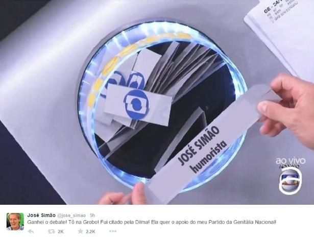 25.out.2014 - Humorista José Simão posta montagem para brincar sobre o último debate antes do segundo turno das eleições presidenciais, que acontecem no próximo domingo (26)