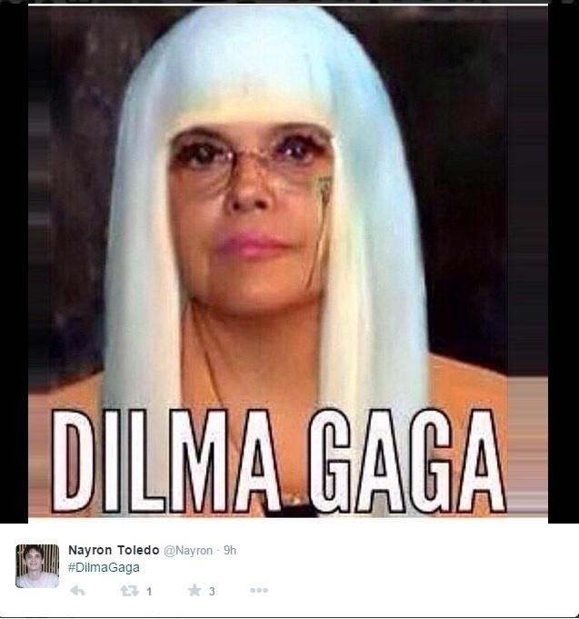 25.out.2014 - Internauta faz montagem com imagem da presidente e candidata à reeleição Dilma Rousseff (PT) e da cantora Lady Gaga fazendo uma piada ao insinuar que Dilma teve problemas de gagueira durante o último debate antes do segundo turno das eleições presidenciais, que acontecem no próximo domingo (26)