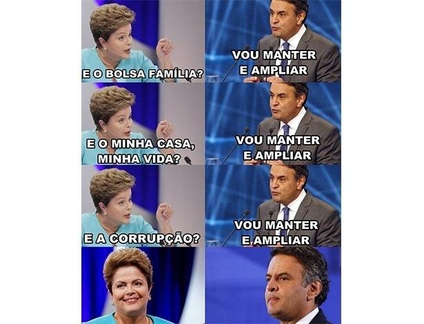 25.out.2014 - Internautas postam montagem para fazer piadas durante o último debate antes do segundo turno das eleições presidenciais, que acontece no próximo domingo (26)