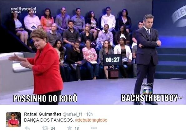 25.out.2014 - Internautas postam montagem para fazer piadas durante o último debate antes do segundo turno das eleições presidenciais, que acontecem no próximo domingo (26)