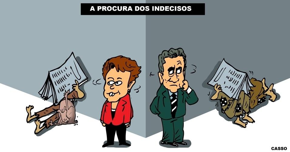 26.out.2014 - O chargista Casso brinca com a disputa acirrada entre os candidatos Dilma Rousseff (PT) e Aécio Neves (PSDB) pela Presidência da República