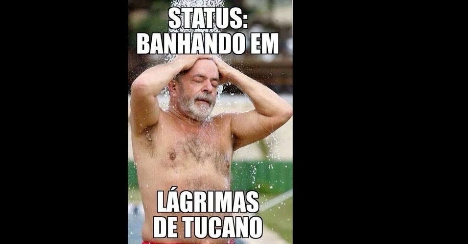 26.out.2014 - Internauta faz piada com choro dos eleitores após a derrota do candidato à Presidência pelo PSDB, Aécio Neves, neste domingo (26)