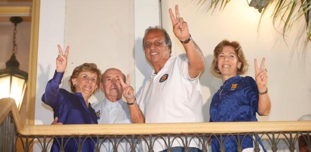 Pezão comemora junto com o seu vice, Francisco Dornelles (PP), e suas respectivas mulheres, no hotel Windsor Flórida, no Catete