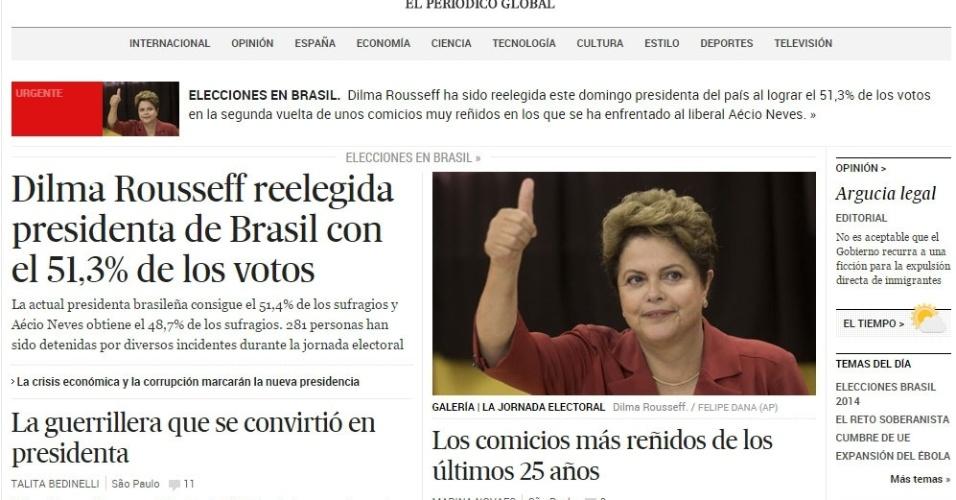 """26.out.2014 - O jornal espanhol """"El País"""" destacou em sua manchete a vitória de dilma, neste domingo à noite. A publicação diz que Dilma foi reeleita com uma margem """"apertadíssima"""", ganhando com """"uma diferanã de apenas 3 milhões de voto, em um país em se 146 milhões de eleitores. Foi necessário, então, que se contasse até o último voto para assegurar a reeleição"""""""