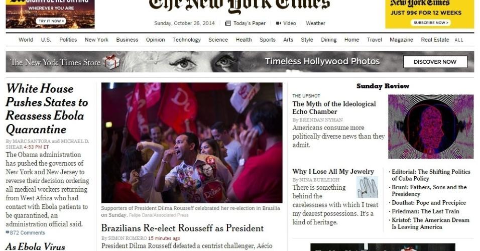 """26.out.2014 - O jornal norte-americano """"The New York Times"""" usa a manchete de seu site para noticiar a reeleição de Dilma Rousseff (PT). """"A presidente derrotou o adversário de centro, Aécio Neves (PSDB), em uma disputa tumultuada, marcada por acusações de corrupção, insultos pessoais e debates com clima quente"""""""