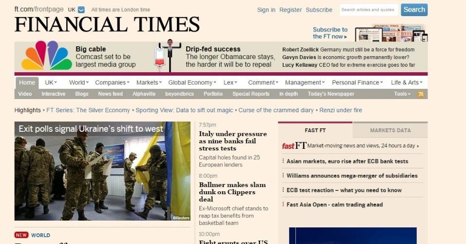 """26.out.2014 - Para o britânico """"Financial Times"""",  """"Dilma enfrenta agora a tarefa de unir um país dividido pela campanha mais agressiva dos últimos tempos, de ressuscitar uma economia que se arrasta e de pacificar mercados hostis"""""""