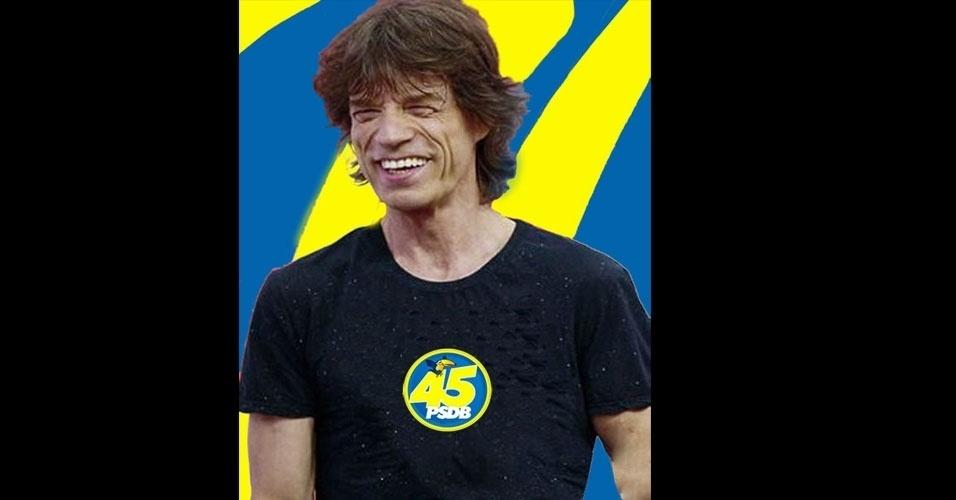 """27.out.2014 - Internauta faz piada e credita derrota do candidato à Presidência pelo PSDB, Aécio Neves, a um suposto apoio de Mick Jagger, considerado """"pé frio"""""""