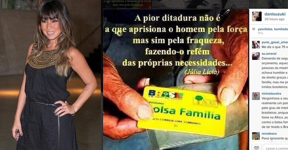 27.out.2014 - A atriz Dani Suzuki criticou a reeleição de Dilma Rousseff (PT) com um post no Instagram - rede social de compartilhamento de fotos