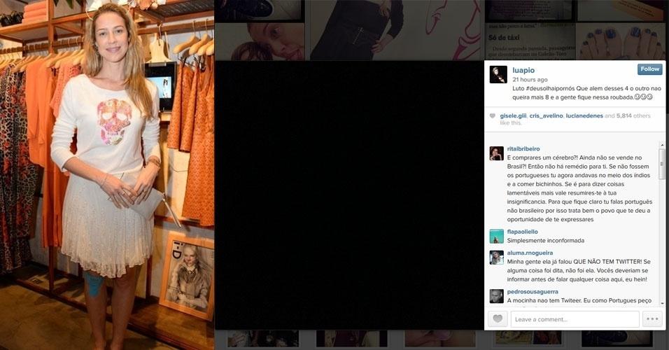 """27.out.2014 - A atriz Luana Piovani mostrou sua indignação pela reeleição de Dilma Rousseff (PT) com um post no Instagram - rede social de compartilhamento de fotos. """"Luto #deusolhaipornós Que alem desses 4 o outro nao queira mais 8 e a gente fique nessa roubada"""", publicou"""