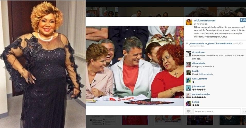 """27.out.2014 - A cantora Alcione comemorou a reeleição de Dilma Rousseff (PT) com um post no Instagram - rede social de compartilhamento de fotos. """"Dilma, apesar de todo sofrimento que passou, você venceu! Se Deus é por ti, nada será contra ti. Quem anda com Deus não tem medo de assombração. Parabéns, Presidenta!"""", publicou"""