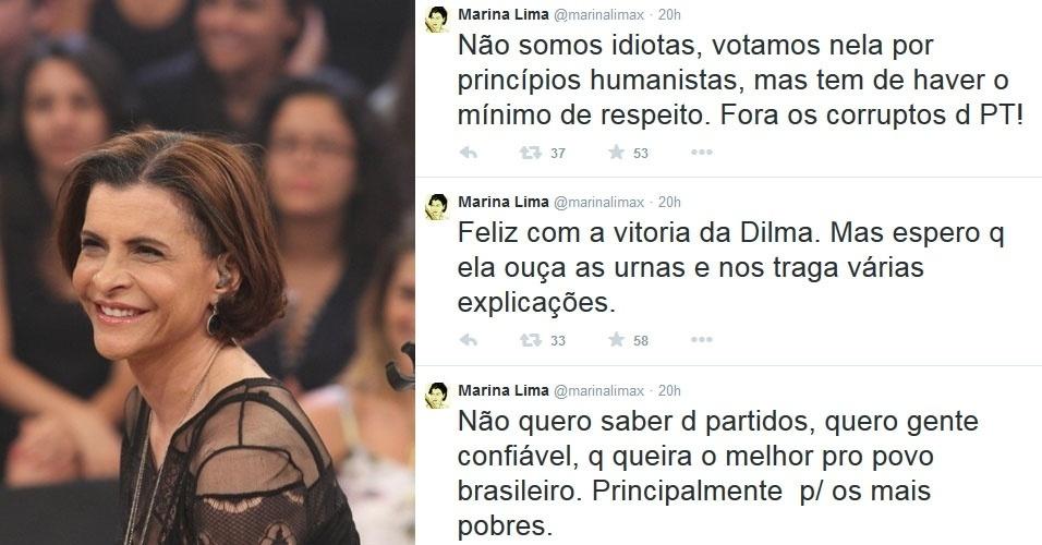 """27.out.2014 - A cantora Marina Lima comemorou a reeleição de Dilma Rousseff (PT) com um post no Twitter. """"Não somos idiotas, votamos nela por princípios humanistas, mas tem de haver o mínimo de respeito. Fora os corruptos d PT!"""", """"Feliz com a vitoria da Dilma. Mas espero q ela ouça as urnas e nos traga várias explicações"""", """"Não quero saber d partidos, quero gente confiável, q queira o melhor pro povo brasileiro. Principalmente p/ os mais pobres"""", publicou"""