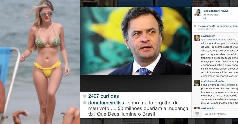 27.out.2014 - A modelo Bárbara Evans mostrou sua indignação pela reeleição de Dilma Rousseff (PT) com um post no Instagram - rede social de compartilhamento de fotos