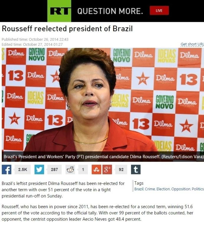 27.out.2014 - A publicação russa 'Russia Today' divulgou que a presidente Dilma Rousseff (PT) foi reeleita na noite deste domingo (26) com mais de 51% dos votos durante apertada disputa presidencial. O jornal afirma que Dilma garantiu sua vitória devido ao grande apoio dos pobres do país, uma vez que cerca de 40 milhões de pessoas foram retiradas da pobreza com reformas sociais e crescimento econômico desde 2003