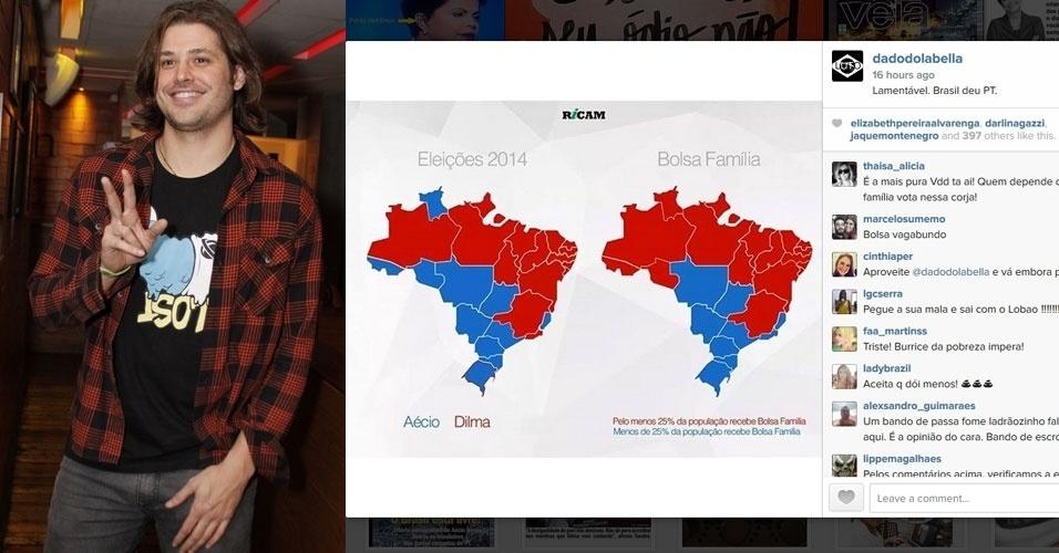 """27.out.2014 - O ator Dado Dolabella, que apoiou o candidato Aécio Neves durante a campanha eleitoral, fez um post no Instagram - rede social de compartilhamento de fotos - para comentar sobre a reeleição de Dilma Rousseff (PT). """"Lamentável. Brasil deu PT."""", publicou"""