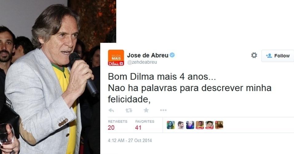 """27.out.2014 - O ator José de Abreu comemorou a reeleição de Dilma Rousseff (PT) com um post no Twitter. """"Bom Dilma mais 4 anos... Nao ha palavras para descrever minha felicidade"""", publicou"""