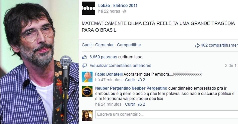 """27.out.2014 - O cantor Lobão, que apoiou o candidato Aécio Neves durante a campanha eleitoral, comentou no Facebook a reeleição de Dilma Rousseff (PT). """"MATEMATICAMENTE DILMA ESTÁ REELEITA UMA GRANDE TRAGÉDIA PARA O BRASIL"""", publicou"""