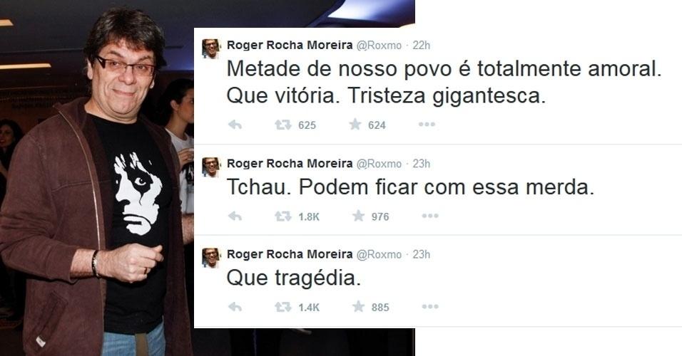 """27.out.2014 - O cantor Roger, da banda Ultraje a Rigor, que apoiou o candidato Aécio Neves durante a campanha eleitoral, fez uma sequência de posts no Twitter contra a reeleição de Dilma Rousseff (PT). """"Que tragédia"""", publicou"""