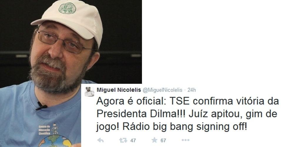 """27.out.2014 - O cientista Miguel Nicolelis comemorou a reeleição de Dilma Rousseff (PT) com um post no Twitter. """"Agora é oficial: TSE confirma vitória da Presidenta Dilma!!! Juíz apitou, fim de jogo! Rádio big bang signing off!"""", publicou"""